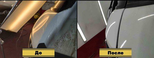 удаление вмятины на крыле рендж ровер эвок до/после